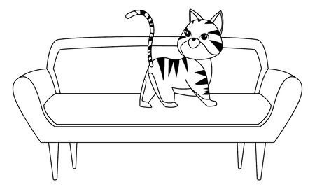 domestic animals and pet with cat over a couch icon cartoon in black and white vector illustration graphic design