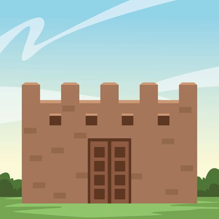 mexican traditional culture mexican castle icon cartoon over the grass with shrubbery and blue sky vector illustration graphic design Illustration
