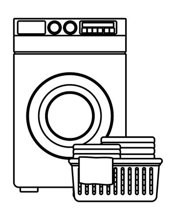 laundry wash and cleaning folded clothes in a cleanliness and washing machine icon cartoon in black and white vector illustration graphic design Çizim