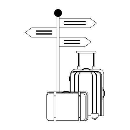 Summer luggage suitcase and signpost cartoons vector illustration graphic design 일러스트