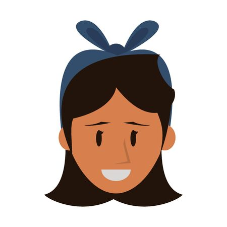 Woman smiling face with headbow cartoon isolated vector illustration graphic design. Illustration
