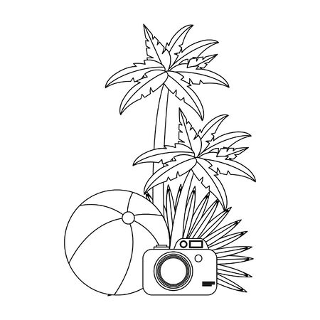 summer beach and vacation with beach balloon, photographic camera, palms icon cartoons in black and white vector illustration graphic design