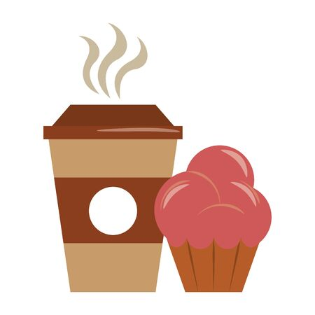 restaurant food and cuisine cup of coffee and muffin icon cartoons vector illustration graphic design