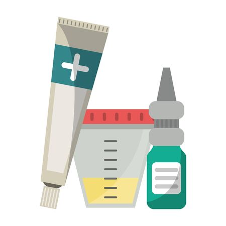 Medical equipment and supplies urine sample dropper and ointment vector illustration graphic design.