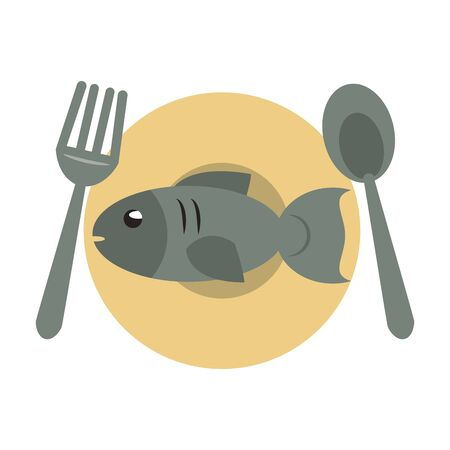 restaurant food and cuisine plate with cutlery and fish icon cartoons vector illustration graphic design Çizim