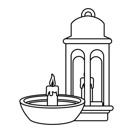 Antique lantern and candle in bowl cartoon vector illustration graphic design Stock Illustratie