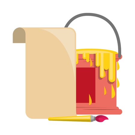 Paint bucket and brush with blank paper symbol illustration editable image Illusztráció