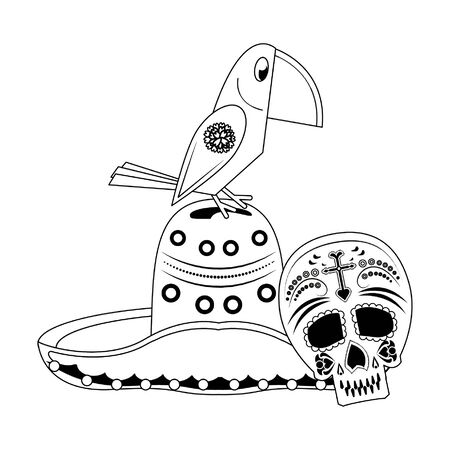 Mexico mariachi hat with bird and skull celebrations cartoons vector illustration graphic design
