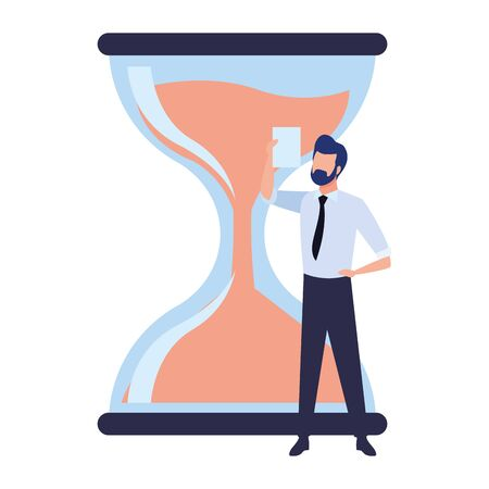 hourglass sand timer with businessman wearing beard and holding a paper icon cartoon