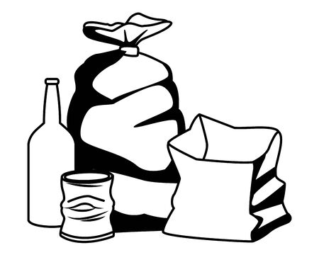 garbage bag, glass bottle, crumpled can and paper bag icon cartoon in black and white vector illustration graphic design