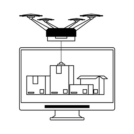 logistic and delivery shipping with drone technology transport and web tracing cartoon vector illustration graphic design