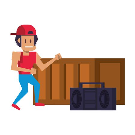 Retro videogame pixelated gangster with radio and wooden box cartoons isolated vector illustration graphic design