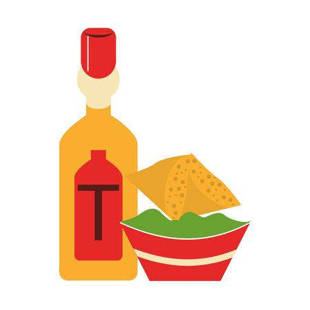 mexico culture and foods cartoons tequila bottle and guacamole plate also nachos vector illustration graphic design