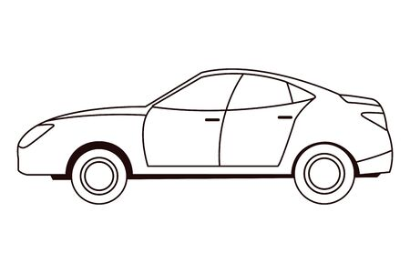 Modern sedan car vehicle sideview in black and white vector illustration graphic design.