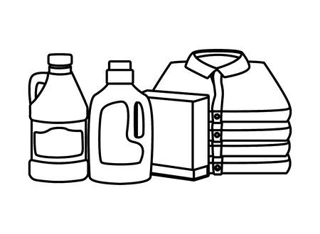 laundry wash and cleaning detergent bottle, bleach and folded clothes icon cartoon in black and white vector illustration graphic design