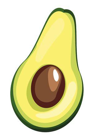 half of avocado icon cartoon vector illustration graphic design