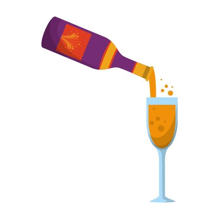 party festive celebration carnival happy entertainment, alcoholic champagne drink with glass cartoon vector illustration graphic design