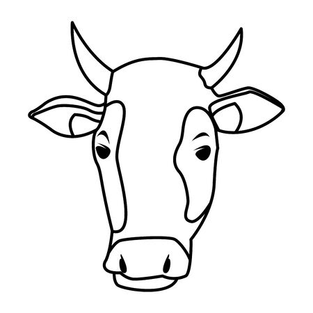 farm, animals and farmer cow head icon cartoon in black and white vector illustration graphic design