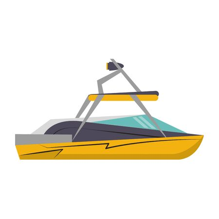 Sport boat side view isolted cartoon vector illustration graphic design