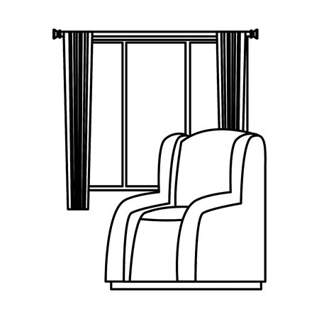 House sofa armchair with window and curtains vector illustration graphic design