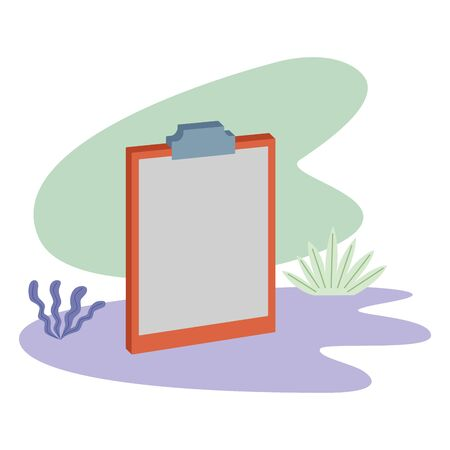 Blank document clipboard isometric symbol with leaves on splash background ,vector illustration graphic design.