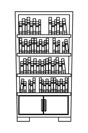 bookshelf full of books colorful icon cartoon isolated vector illustration graphic design