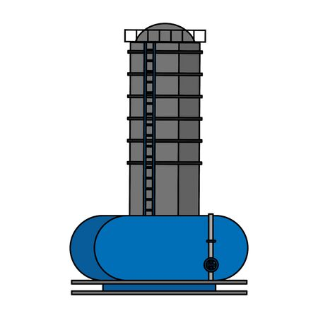 oil refinery gas factory industry petrochemical petroleum storage tanks plant cartoon vector illustration graphic design