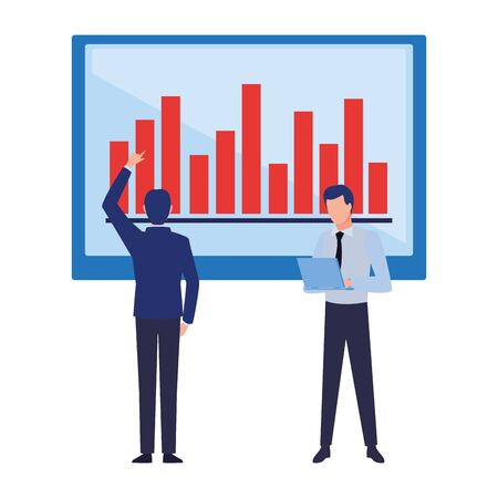 two businessmen avatar character with big data chart bar diagram icon cartoon vector illustration graphic design