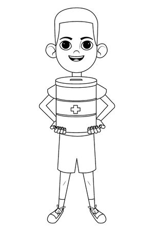 little kid afroamerican boy carrying donation jar for medical support avatar cartoon character portrait isolated black and white vector illustration graphic design