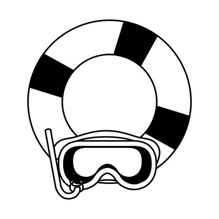 summer beach and vacation with lifebuoy and snorkel icon cartoon in black and white vector illustration graphic design