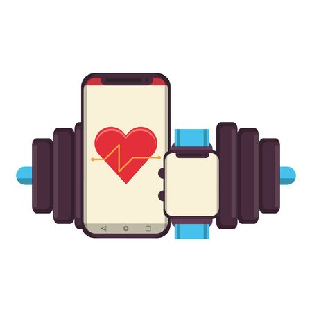fitness equipment workout health and cardiology app watch with scale symbols vector illustration graphic design