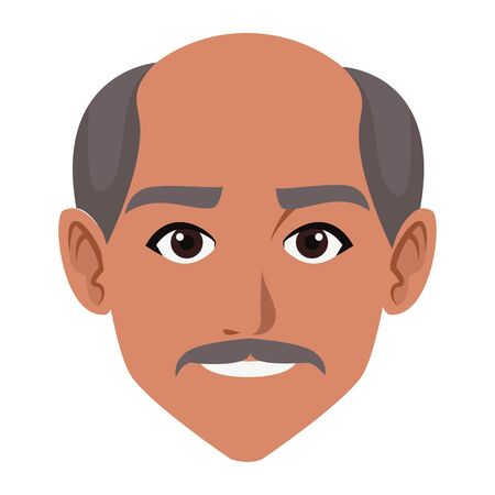 indian man face with moustache and bald profile picture avatar cartoon character portrait vector illustration graphic design Ilustrace