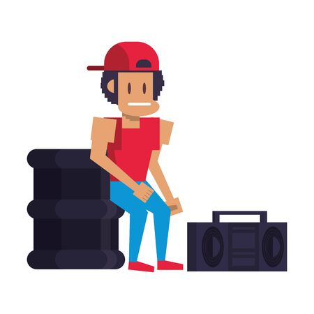 Retro videogame pixelated man and trash can with radio cartoons isolated vector illustration graphic design Stock Illustratie