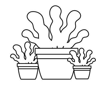 avatar plant pots icon cartoon in black and white vector illustration graphic design