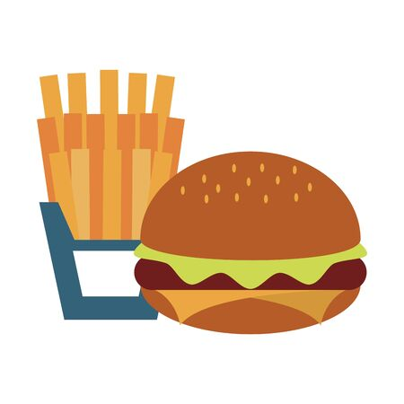 restaurant food and cuisine hamburger and french fries icon cartoons vector illustration graphic design Çizim