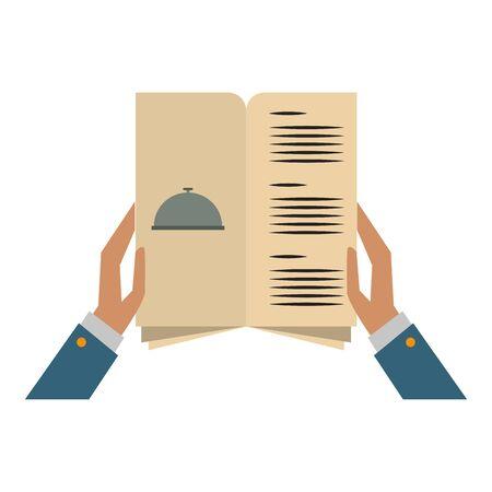 restaurant food and cuisine hands holding a restaurant menu icon cartoons vector illustration graphic design