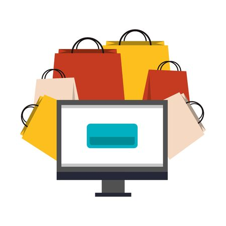 online shopping ecommerce sale, buying by computer cartoon vector illustration graphic design  イラスト・ベクター素材