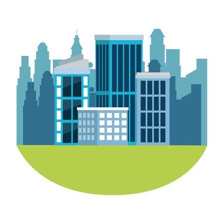 urban buildings construction properties cartoon vector illustration graphic design Ilustração