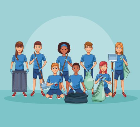 Park cleaning volunteers with bags and trash can vector illustration graphic design Ilustrace