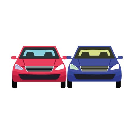 cars transport sedan red and blue vehicles cartoon vector illustration graphic design  イラスト・ベクター素材