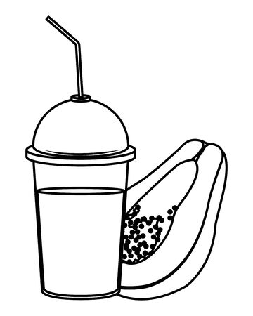tropical fruit and smoothie drink with papaya icon cartoon in black and white vector illustration graphic design