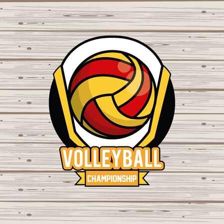 Sports balls equipment voleyball vibrant bold letters colorful badge fitness physical activity card background ribbon banner vector illustration graphic design