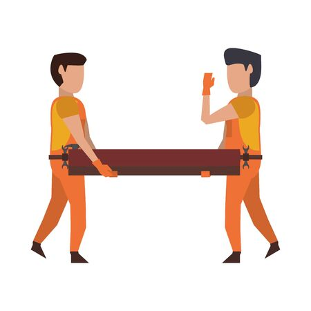 Carpenters with tools holding wooden plank vector illustration graphic design