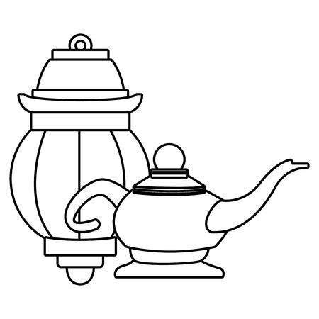 Magic lamp and paper light cartoon vector illustration graphic design