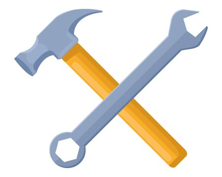 Construction tools hammer and wrench crossed cartoon symbol vector illustration graphic design.