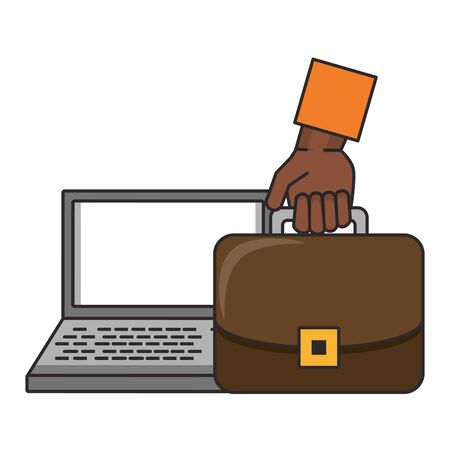 Laptop and hand with briefcase symbols vector illustration