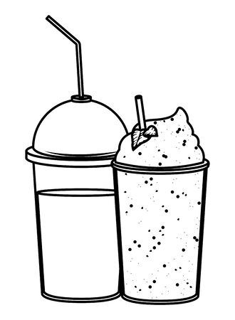 fruit tropical smoothie drink with dome lid, plastic cup and straw icon cartoon in black and white vector illustration graphic design