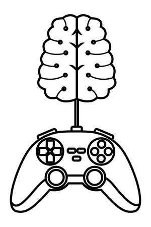 video games play console controller with brain cartoon vector illustration graphic design  イラスト・ベクター素材