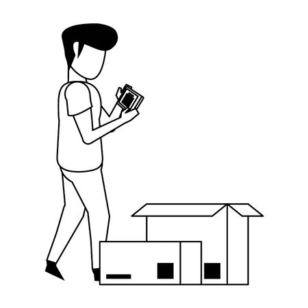 man using smartphone mobile technology for read a delivery and logistic document cartoon vector illustration graphic design
