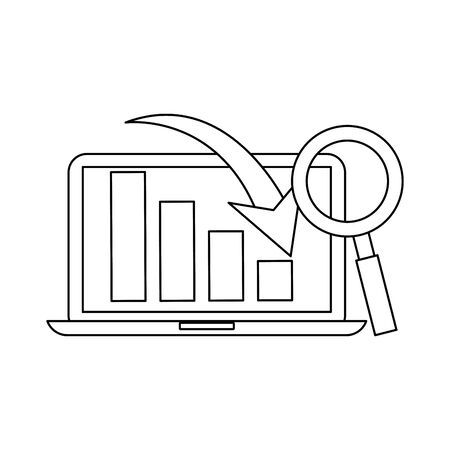 laptop computer mobile technology analyzing graphics with magnifying glass cartoon vector illustration graphic design